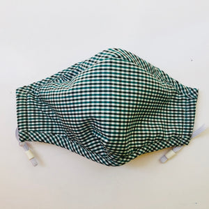 Blue Gingham Plaid Face Mask with Filter Pocket, Nose Wire and Adjustable Straps