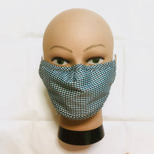 Load image into Gallery viewer, Blue Gingham Plaid Face Mask with Filter Pocket, Nose Wire and Adjustable Straps