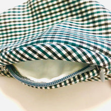 Load image into Gallery viewer, Carbon Filter Face Mask in Blue Gingham Plaid with Activated Carbon PM 2.5 Filter Insert