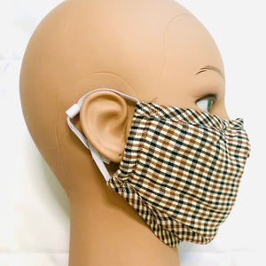 Beige Plaid Face Mask with Filter Pocket, Nose Wire and Adjustable Straps