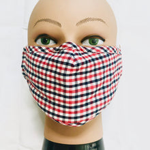 Load image into Gallery viewer, Carbon Filter Face Mask in Red & Blue Plaid with Activated Carbon PM 2.5 Filter Insert