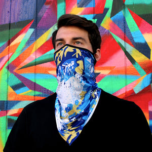 Blue Neck Gaiter with Ear Loops