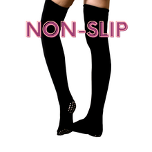 Load image into Gallery viewer, Black Thigh High Socks, Non-Slip
