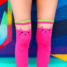 Load image into Gallery viewer, Pink Cat Over The Knee Socks
