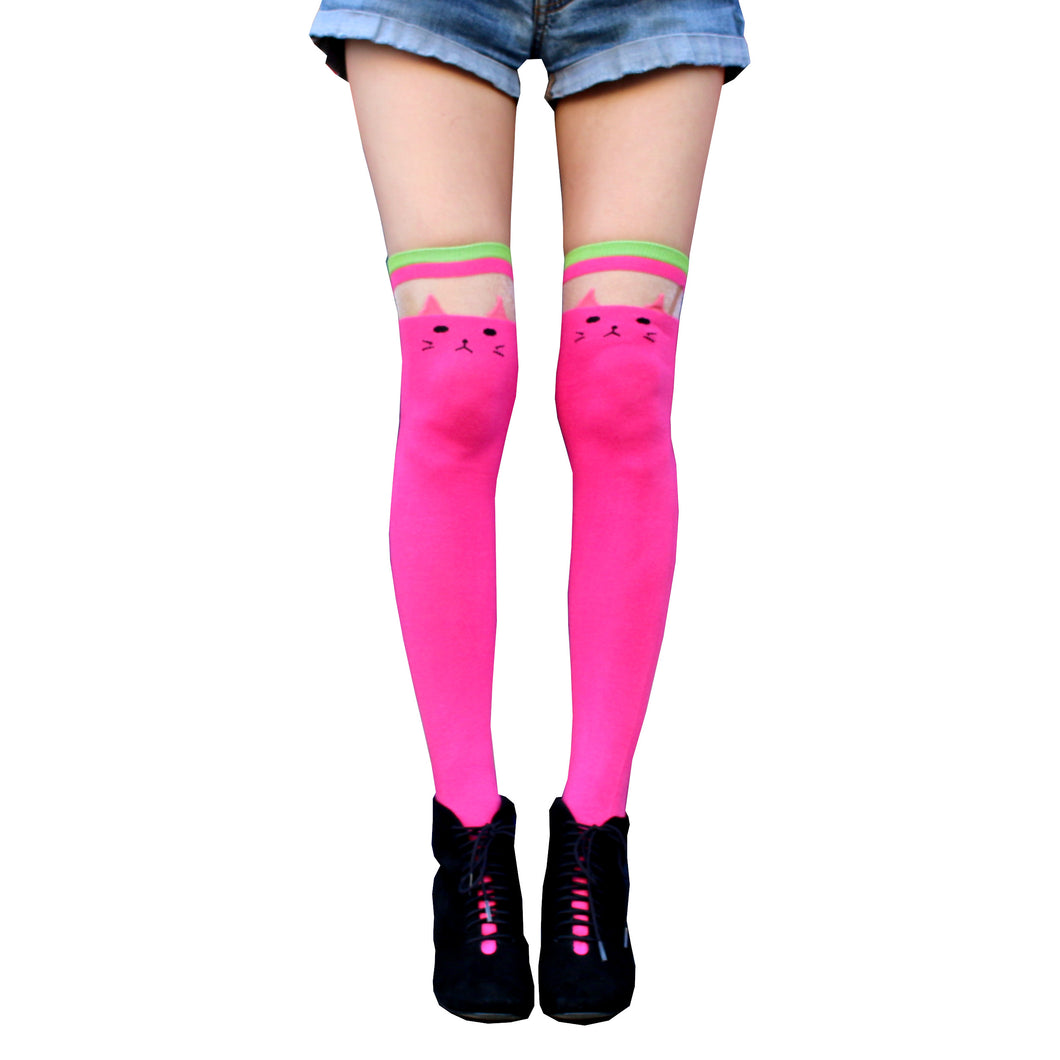 Pink Cat Over The Knee Socks