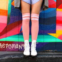Load image into Gallery viewer, Pink Striped Knee High Socks