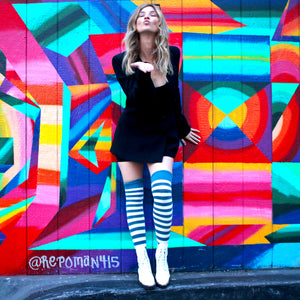 Pippi Longstocking Inspired Elf Girl Thigh High Socks