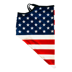 American USA Flag Neck Gaiter with Ear Loops