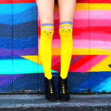Load image into Gallery viewer, Yellow Cat Over The Knee Socks