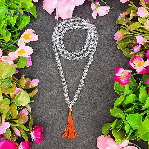 Rock crystal / Clear Quartz mala : For Strength and Clarity
