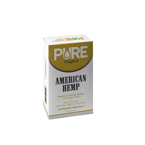 Pure American Hemp Cigarettes, Original – Pack of 20 Smooth Pre-Rolled