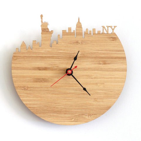 horloge new york en bois