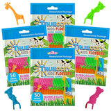 Trueocity Kids Dental Flossers 4 Pack (200 Total), Cute Animal Shapes Makes Flossing Fun, Dental Floss Glides Easy Between Teeth, Flosser Helps Prevent Tooth Decay & Gum Disease, Bubble Gum Flavored