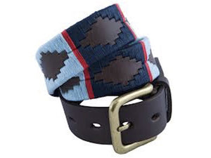 Navy, Pale Blue & Red Stripe Polo Belt 186