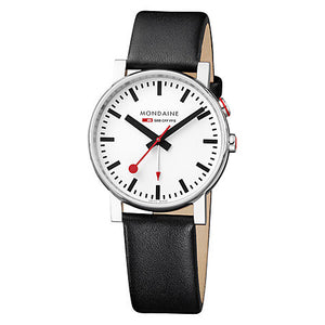 Evo Alarm 40 White Dial Black Leather Strap