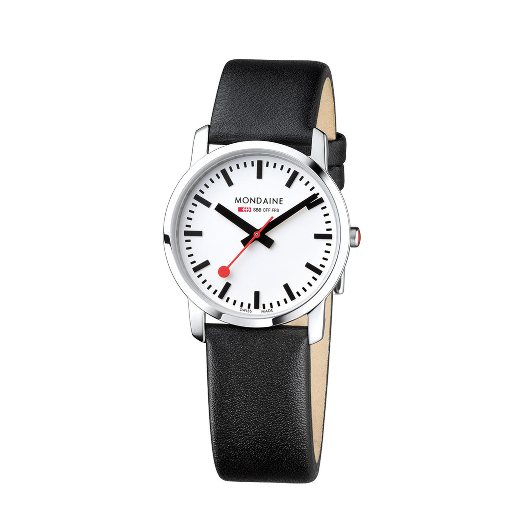 Simply Elegant 36mm White Dial Black Leather Strap