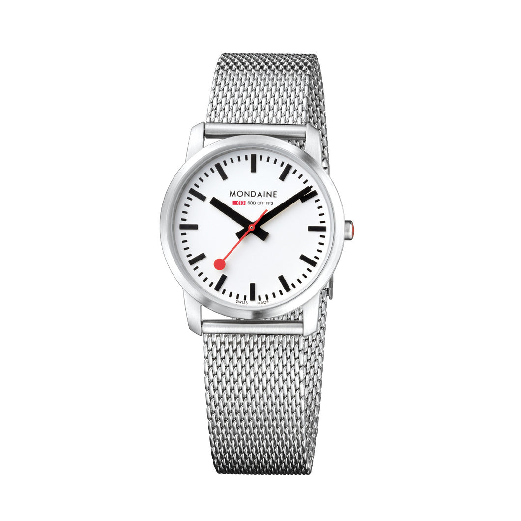 Simply Elegant 36mm White Dial Steel Strap