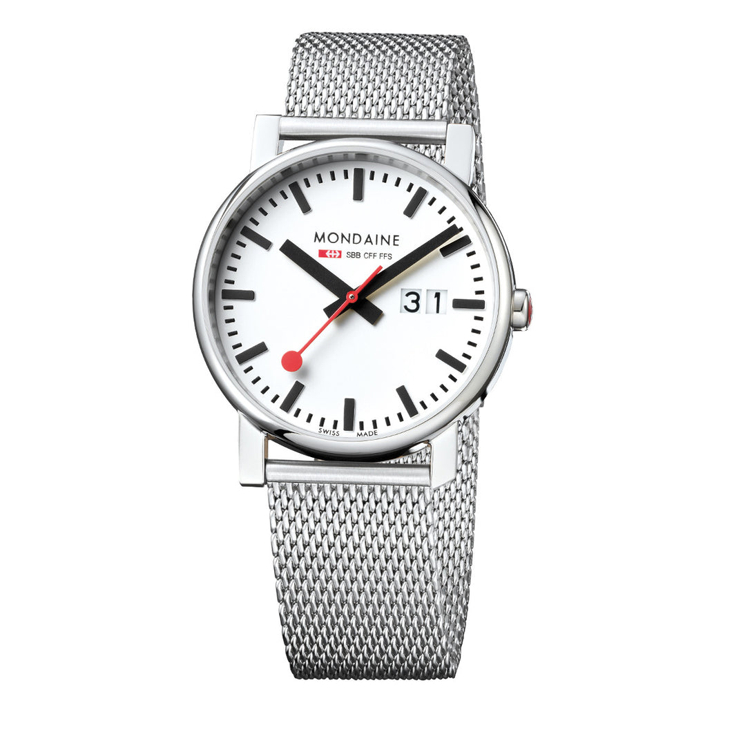 Evo Big Date 40mm White Dial Steel Strap