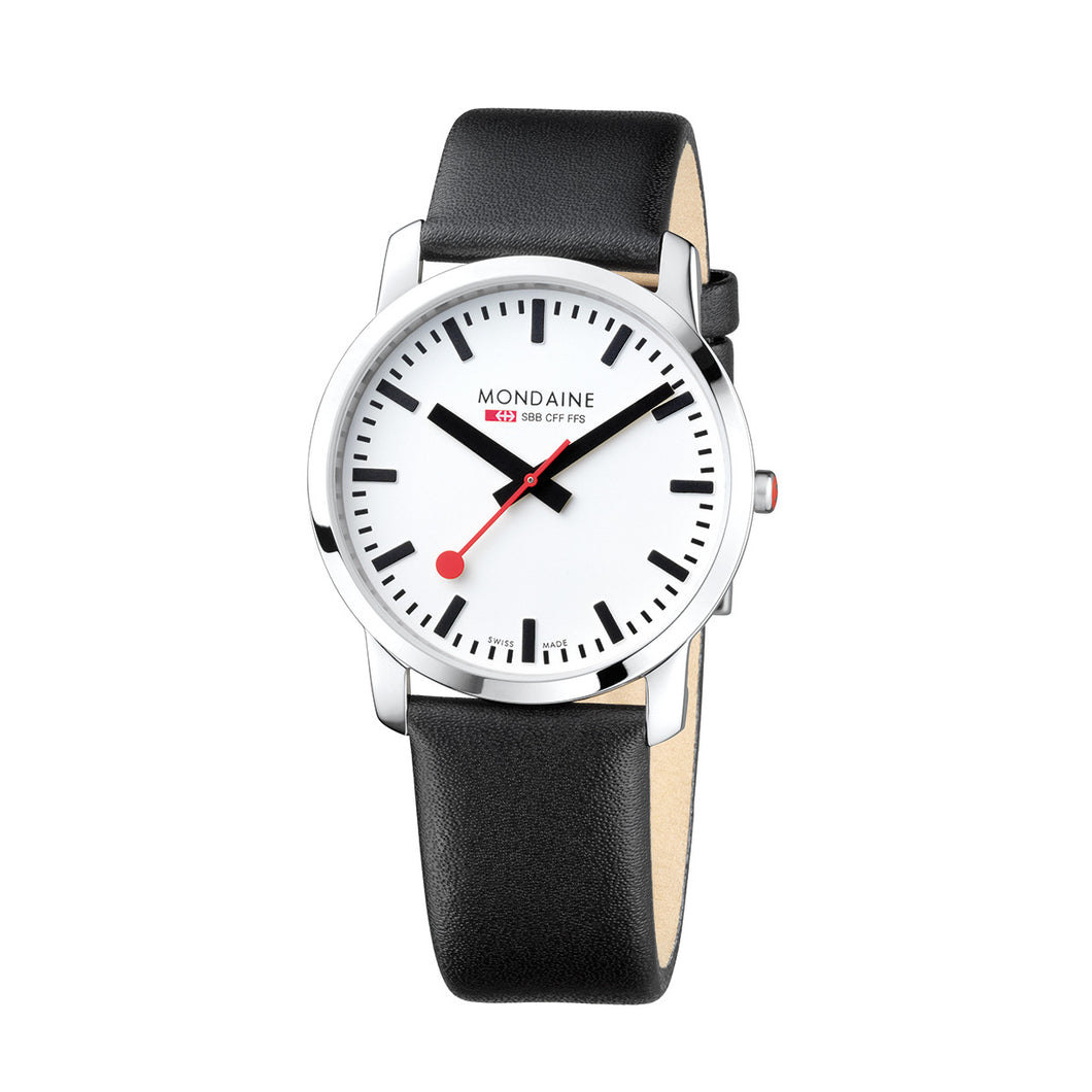 Simply Elegant 41mm White Dial Black Leather Strap
