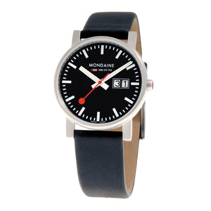 Evo Big Date 35mm Black Dial Black Leather Strap