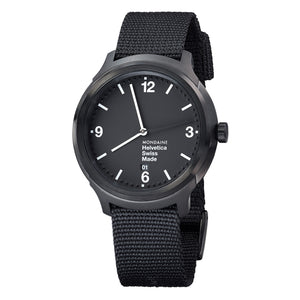 Helvetica No1 Bold 43mm Black Dial Black Plated Body Black Nylon Strap