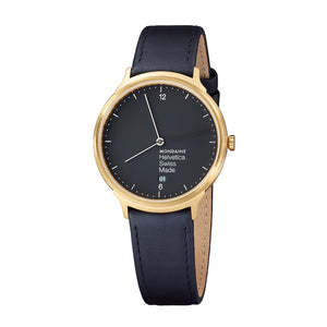 Helvetica No1 Light 38mm Black Dial Black Leather Strap