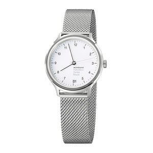 Helvetica No1 Regular 33mm White Dial Steel Strap