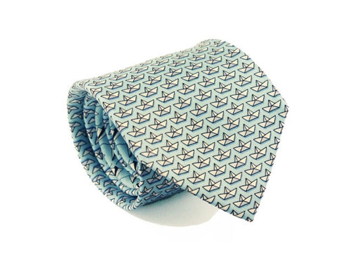 Paper Boats Printed Silk Tie Light Blue
