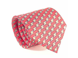 Manta Ray Printed Silk Tie Dark Pink