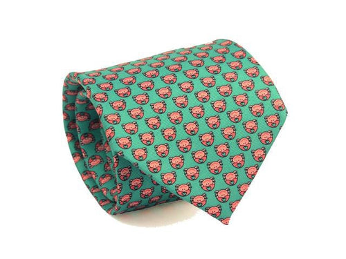Crab Printed Silk Tie Teal
