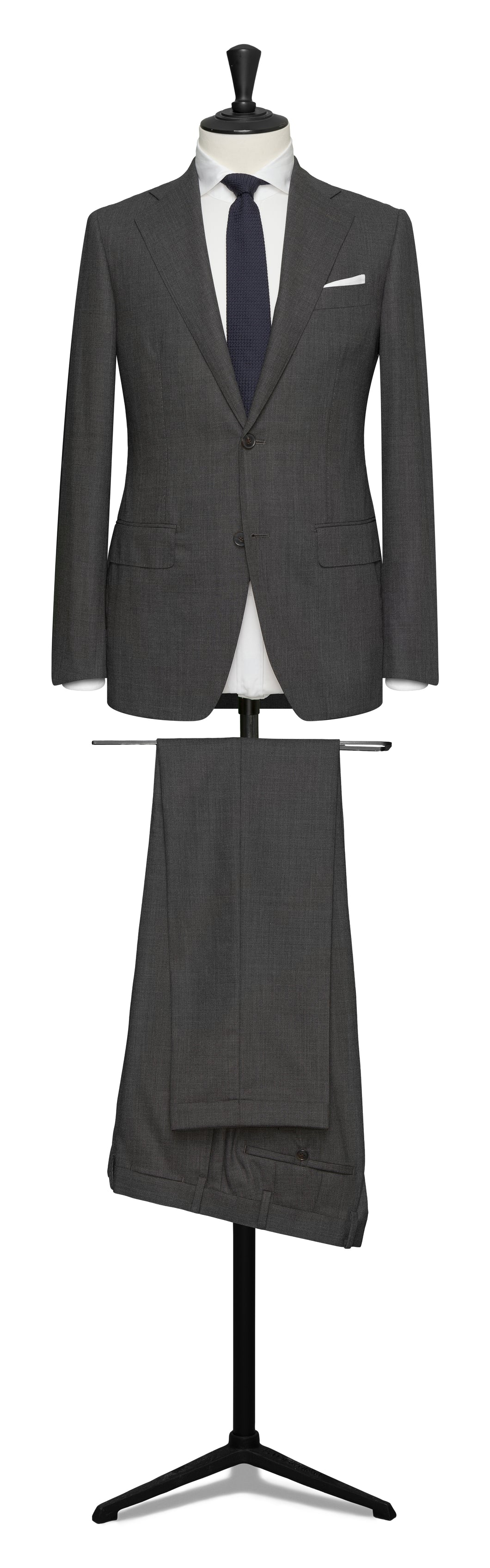 Medium Grey High Twist Single Breasted Two Button Suit