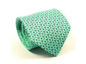 Cocktail Printed Silk Tie Turquoise