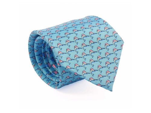 Marlin Printed Silk Tie Light Blue