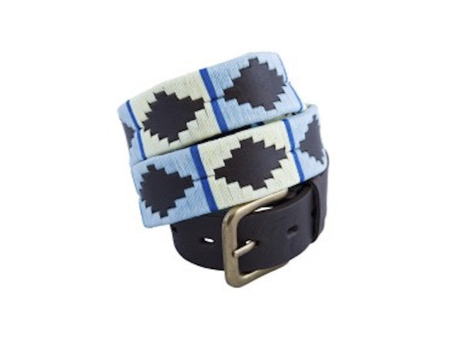 Pale Blue, White & Blue Stripe Polo Belt 142