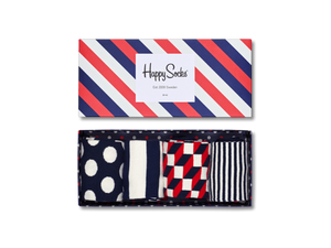Big Dot Socks Gift Box - Big Dot, Filled Optic, Half Stripe, Stripe - Blue, Red, White
