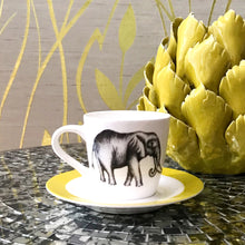 Load image into Gallery viewer, Elephant Espresso Cups with Saucer