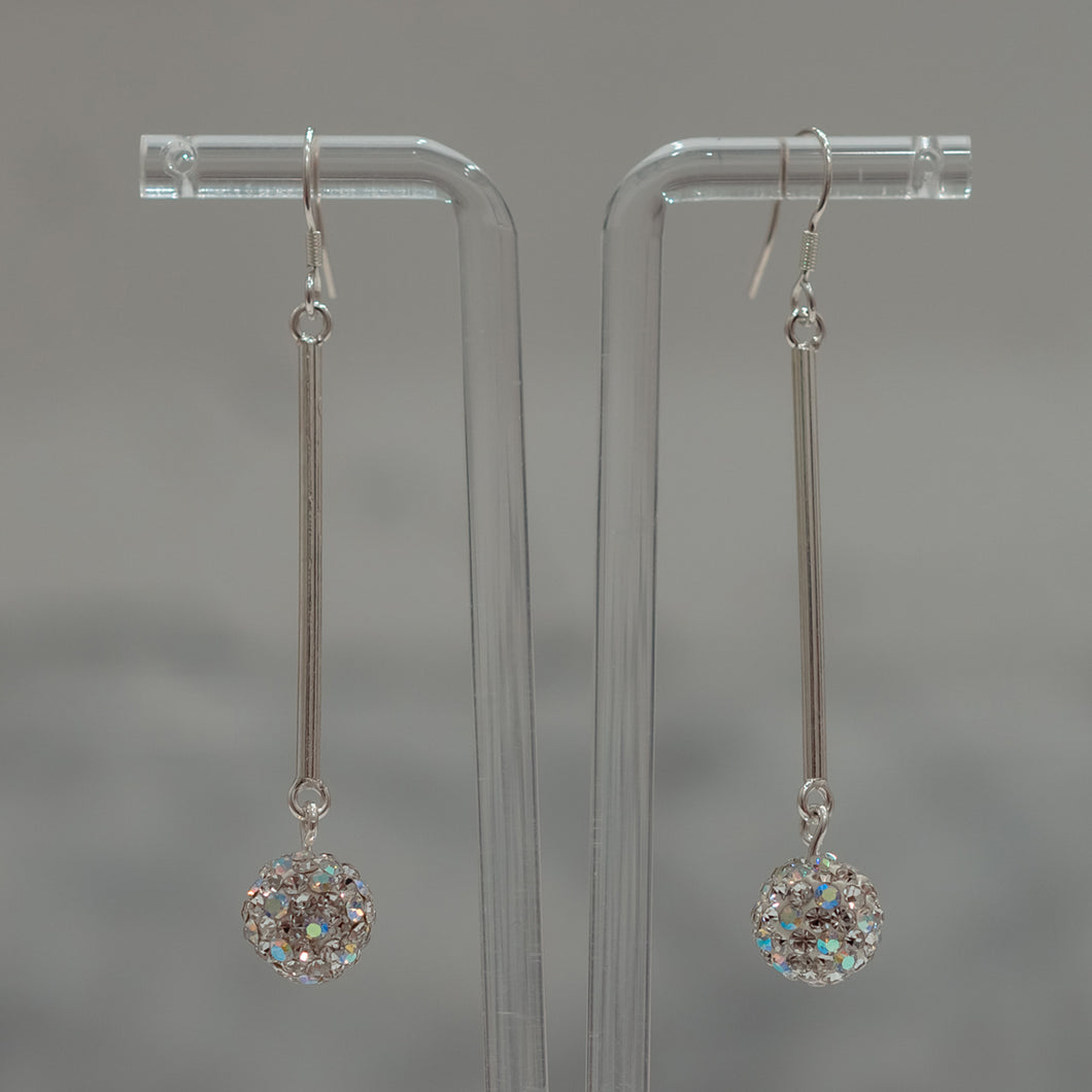 Long Earrings with Crystal Accents