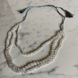 Triple Strand Crystal & Tassel Necklace