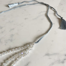 Load image into Gallery viewer, Triple Strand Crystal & Tassel Necklace