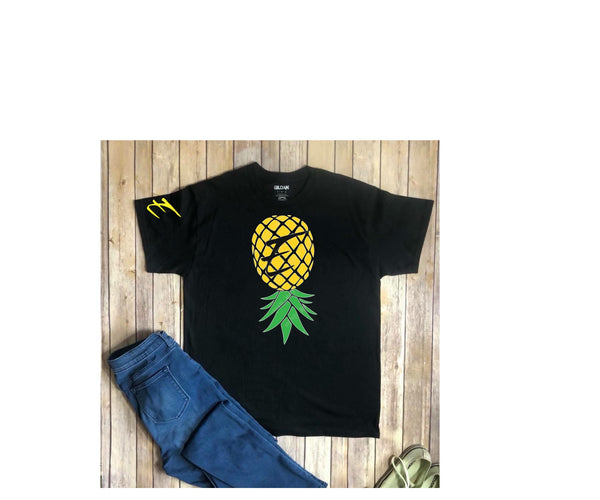 E Upside Down Pineapple Black T shirt