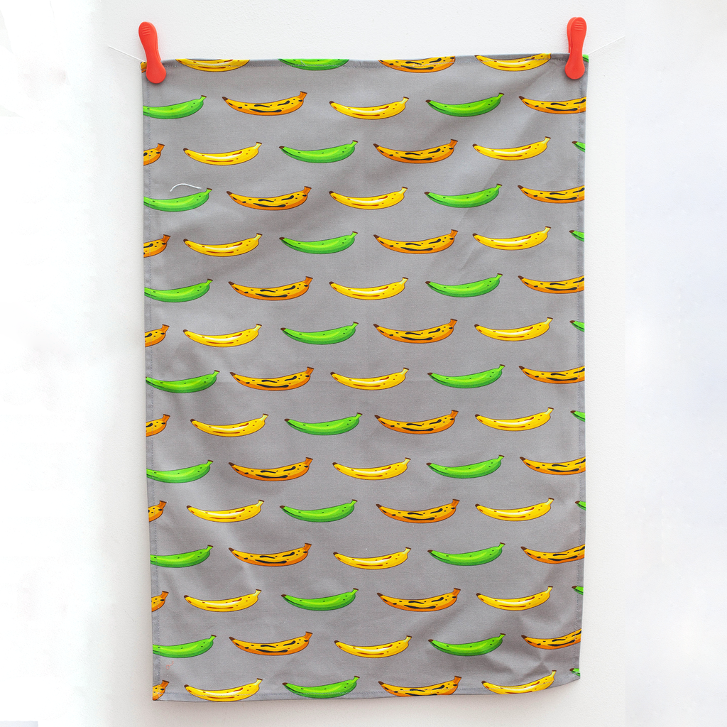 TEA TOWEL PLANTAIN GREY