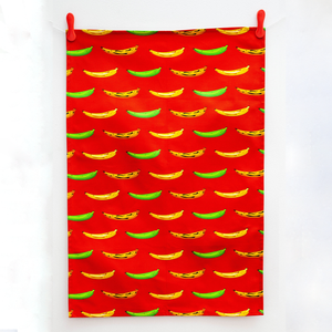TEA TOWEL PLANTAIN RED