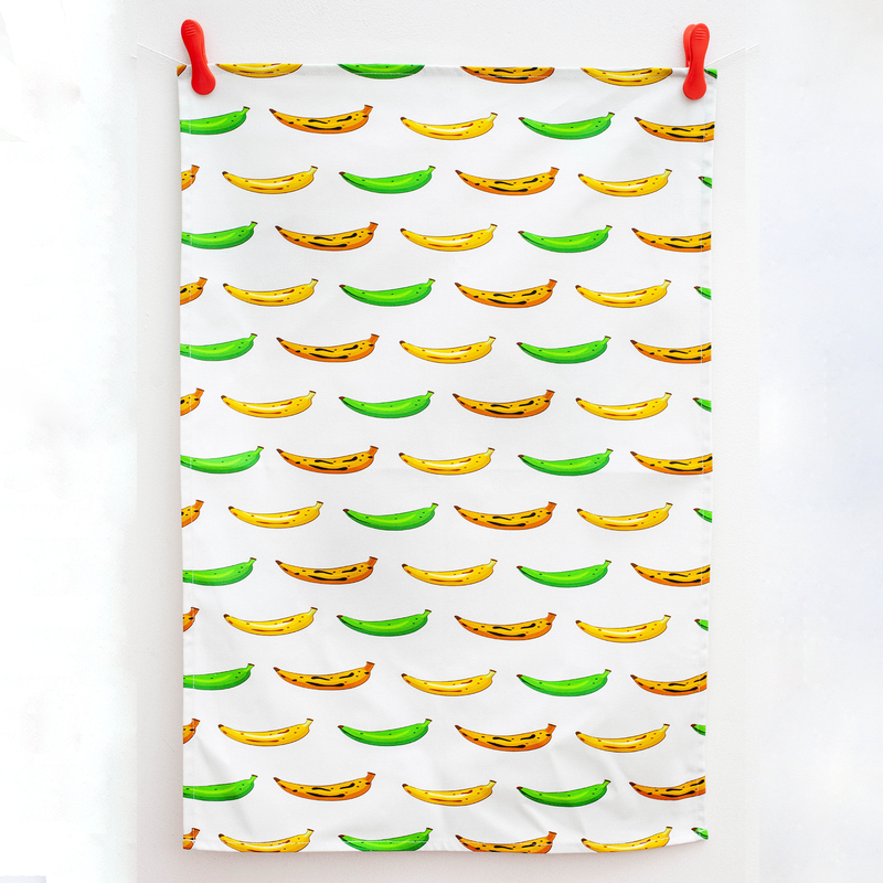 TEA TOWEL PLANTAIN WHITE