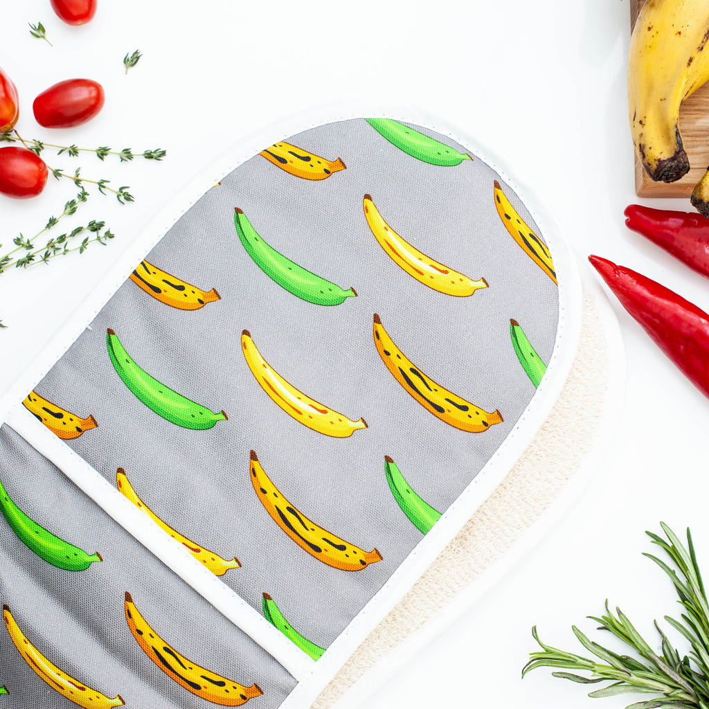 DOUBLE OVEN GLOVE PLANTAIN GREY
