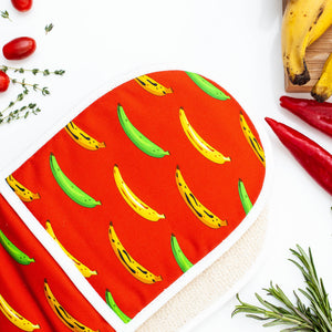DOUBLE OVEN GLOVE PLANTAIN RED