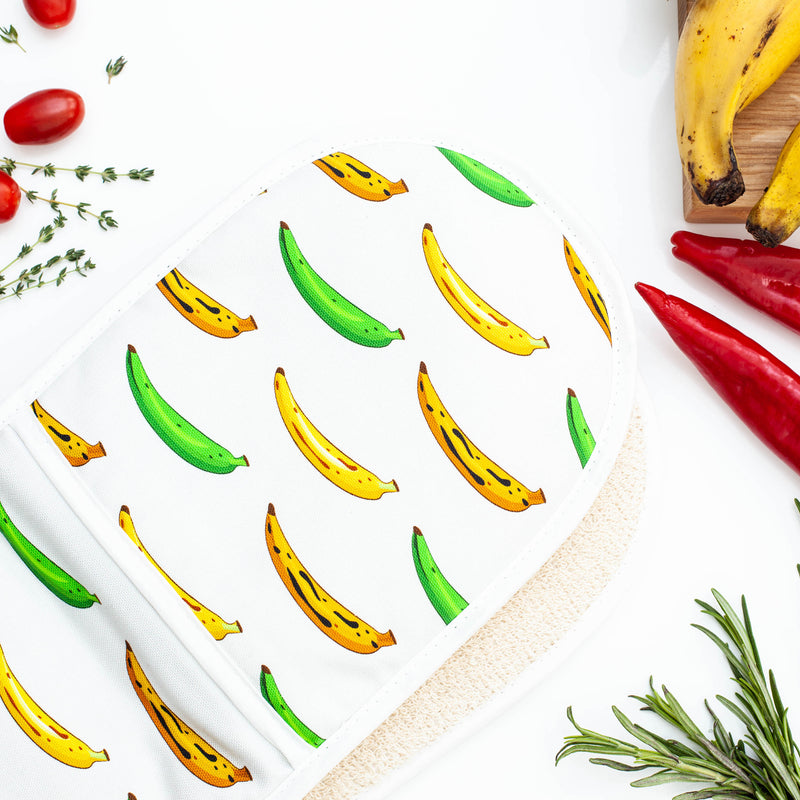 DOUBLE OVEN GLOVE PLANTAIN WHITE