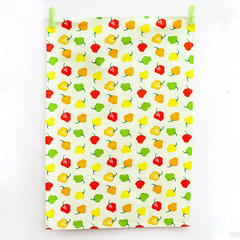 TEA TOWEL SCOTCH BONNET PEPPER CREAM