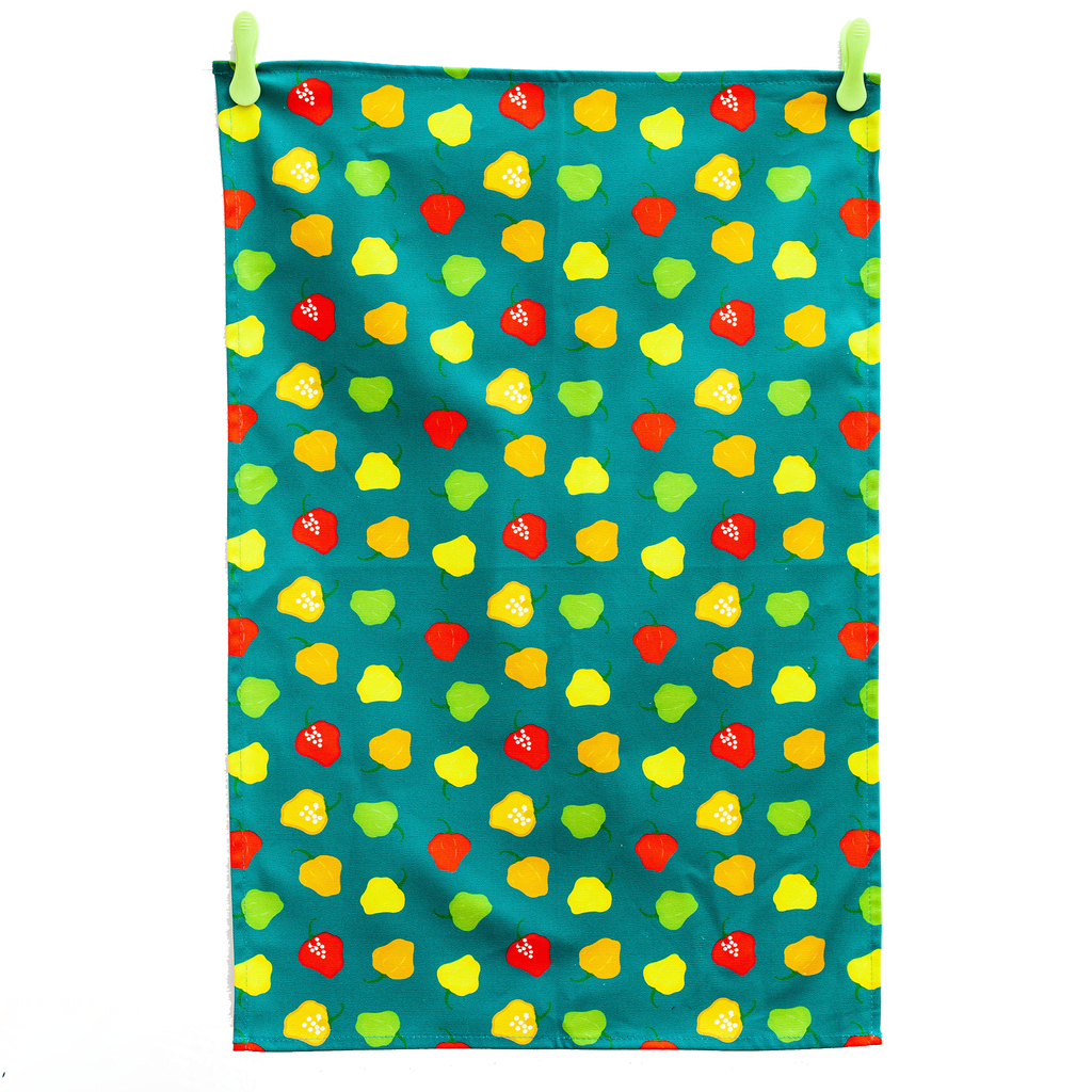 TEA TOWEL SCOTCH BONNET PEPPER TEAL