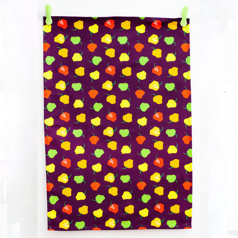 TEA TOWEL SCOTCH BONNET PEPPER PLUM