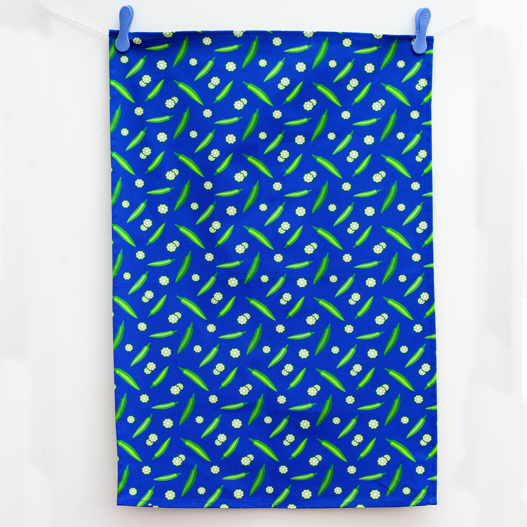 TEA TOWEL OKRA BLUE
